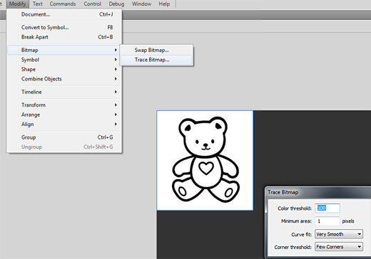 convert photos to coloring book images. Then, select the image on the stage, and convert it from bitmap to vector