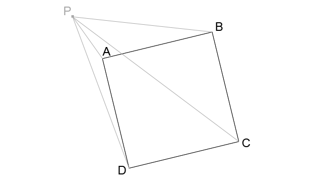 Algorithm to determine if a point is inside a square with