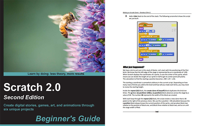 Two books to learn and teach Scratch programming language