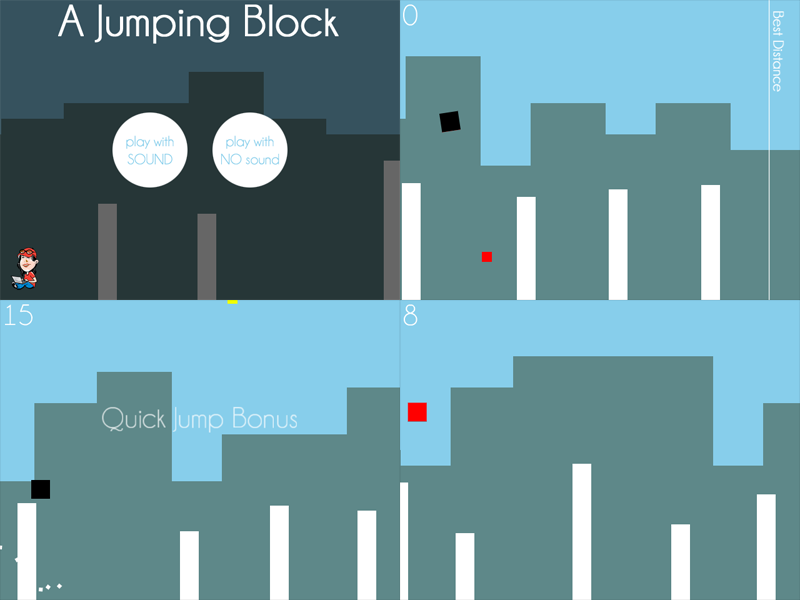 "Foyer Minimalist Game : Play ""a jumping block an html minimalist game based on"