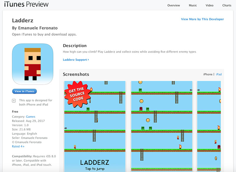 """Ladderz"""" HTML5 game now is available on iOS App Store too"""